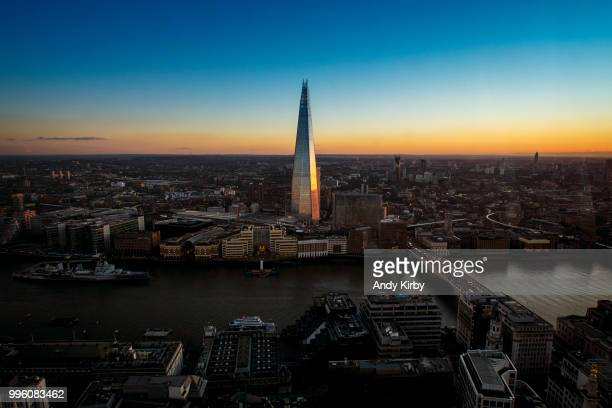 Modern skyscraper landmark over city at sunset