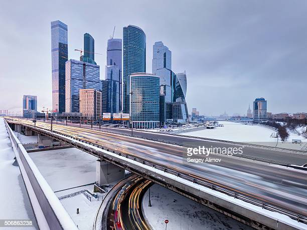 Modern skyscrapers and 3rd Ring Road in Moscow