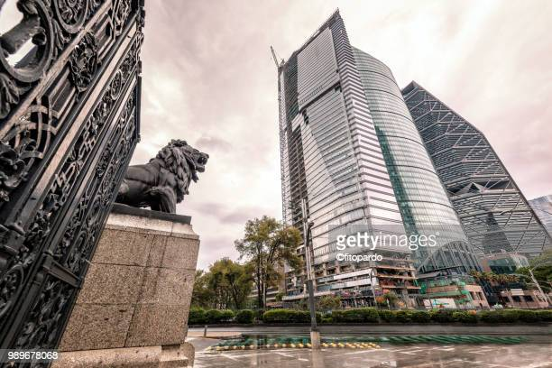Modern Skyscrapers and Chapultepec Lions Door in Mexico City