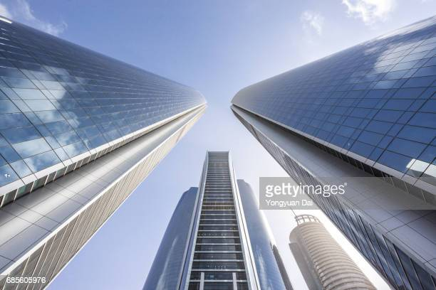 modern skyscrapers in abu dhabi - low angle view stock pictures, royalty-free photos & images