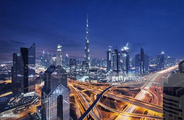modern skyscrapers in downtown dubai, dubai, united arab emirates - panoramic stock pictures, royalty-free photos & images