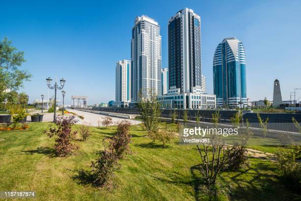 modern skyscrapers in grozny, chechnya - chechnya stock pictures, royalty-free photos & images