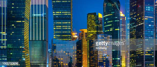 modern skyscrapers / lujiazui, shanghai, china - pudong - fotografias e filmes do acervo