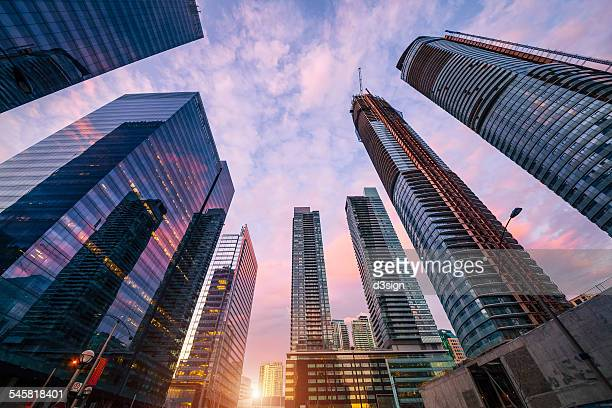 modern skyscrapers of busy toronto downtown - skyscraper stock pictures, royalty-free photos & images