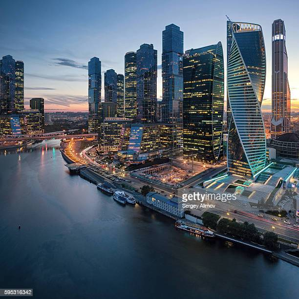 Modern skyscrapers of Moscow International Business Center and Moscva river