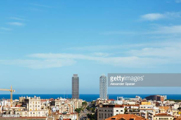 modern skyscrapers, old town and horizon over the sea in barcelona, catalonia, spain - la barceloneta stock pictures, royalty-free photos & images