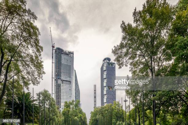 Modern Skyscrapers shot from Chapultepec in Mexico City