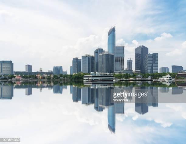 modern skyscrapers standing by qiantang river,Hangzhou city