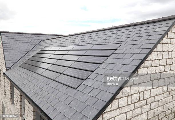 modern solar panels - roof tile stock pictures, royalty-free photos & images