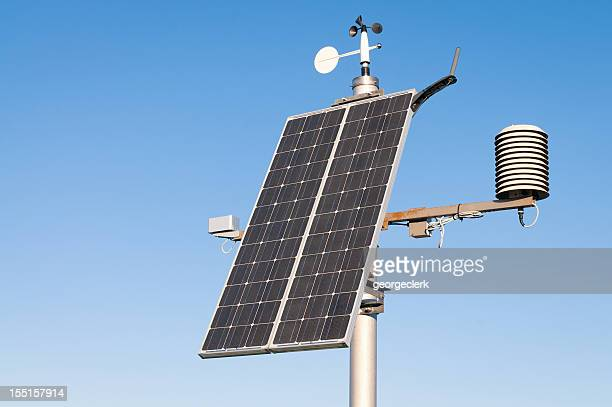 modern solar powered weather station - sensor stock pictures, royalty-free photos & images