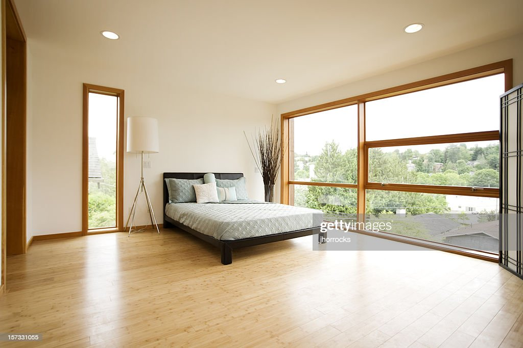Modern Spacious Bedroom with Hardwood Floors : Stock Photo