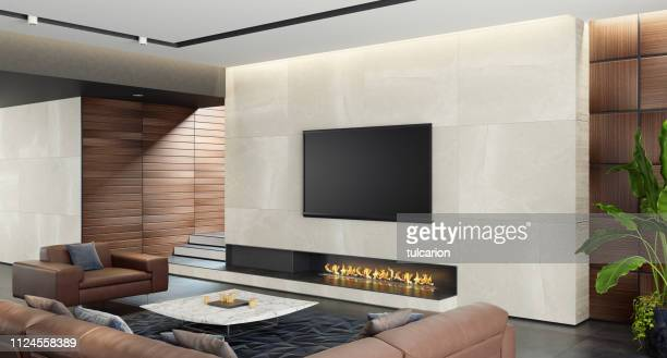 modern spacious minimalist living room with eco fireplace - camino foto e immagini stock