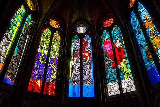 Modern Stained Glass Windows In The Nevers Cathedral Cathedrale Saint Cyr Et