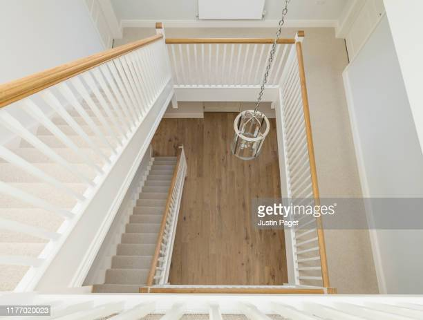 modern staircase in new build luxury house - staircase stock pictures, royalty-free photos & images