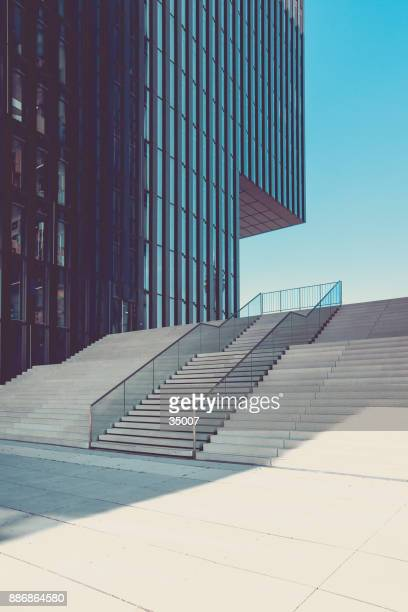 modern staircase in urban surrounding, media harbor duesseldorf, germany - politics abstract stock pictures, royalty-free photos & images