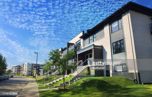 modern street and apartment building - buzbuzzer stock pictures, royalty-free photos & images