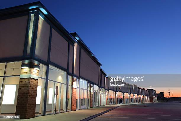 Modern Strip Mall Building Exteriors at Sunset