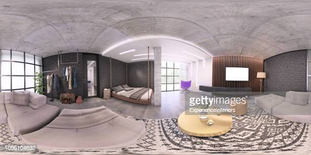 modern studio apartment 360 equirectangular panoramic interior - 360 degree view stock pictures, royalty-free photos & images