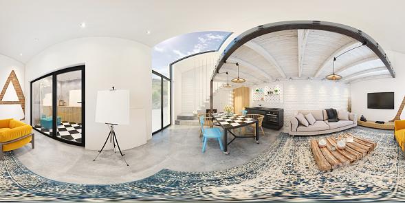 Modern studio apartment 360 equirectangular panoramic interior 930740192