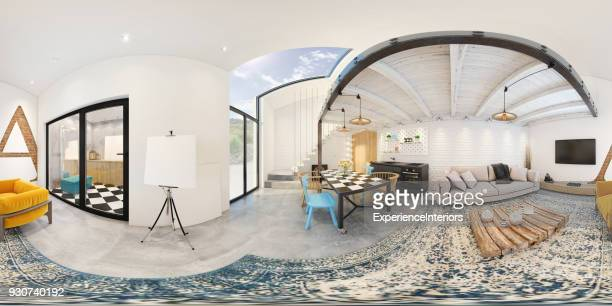 modern studio apartment 360 equirectangular panoramic interior - panoramic stock pictures, royalty-free photos & images