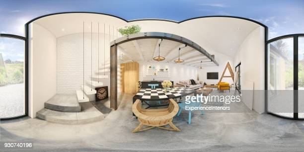 Moderne studio appartement 360 equirectangular panoramisch interieur
