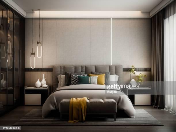 モダンスタイルベッドルーム - 寝具 ストックフォトと画像