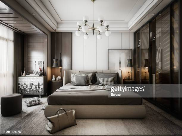 modern style bedroom - sheet bedding stock pictures, royalty-free photos & images