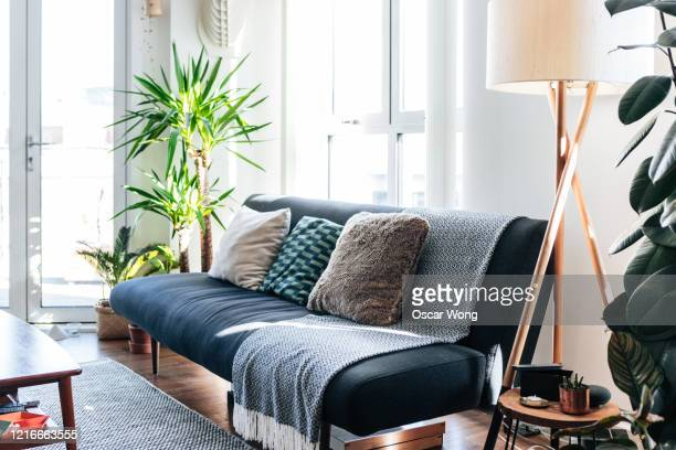 a modern, stylish and bright living room - japan stock pictures, royalty-free photos & images