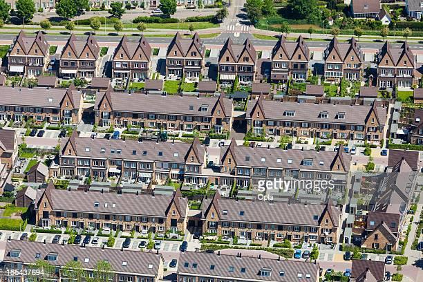 modern suburb aerial view - rotterdam stockfoto's en -beelden