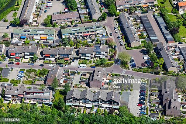 Modern suburb aerial view