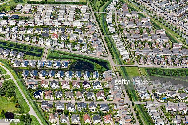 modern suburb aerial view - residential district stock photos and pictures