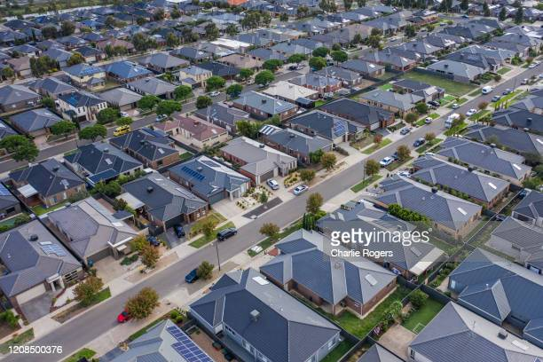 modern suburban residential area - housing development stock pictures, royalty-free photos & images