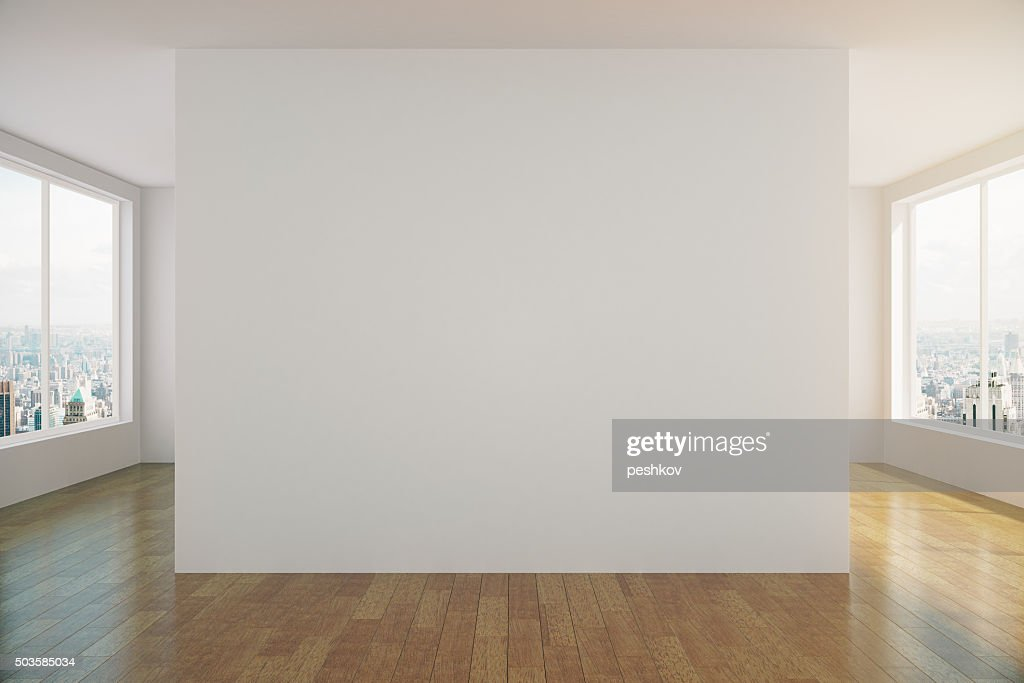 ... Modern Sunny Empty Loft Room With White Wall ...