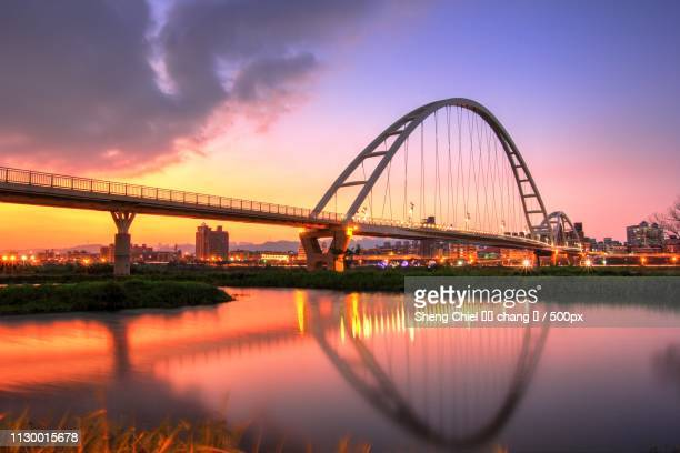modern suspension bridge at sunset - ghana africa fotografías e imágenes de stock