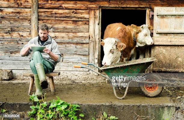 Modern Swiss farmer with digital tablet