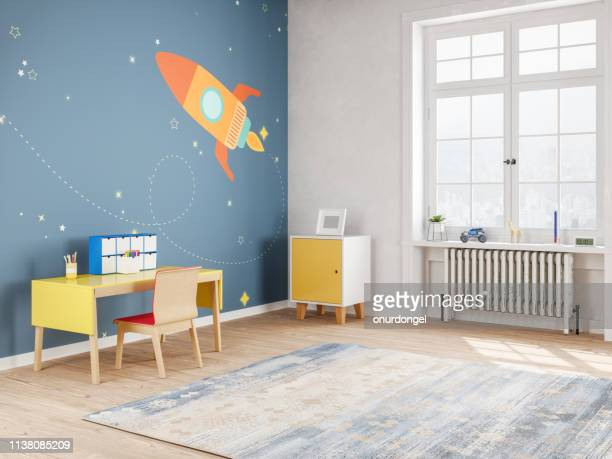 modern teen bedroom in space style - camera da letto foto e immagini stock