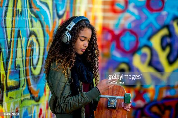 modern teenager - beautiful black teen girl stock photos and pictures