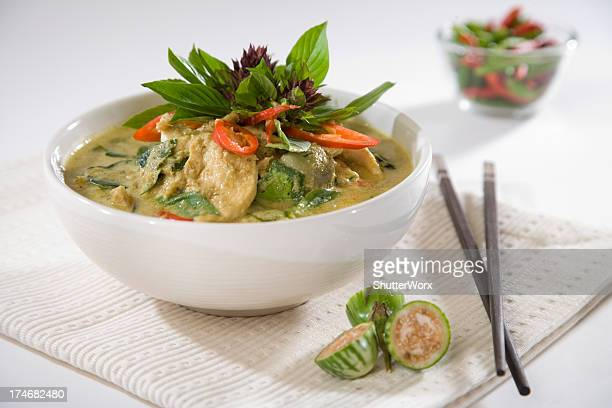 modern thai green curry - curry powder stock photos and pictures