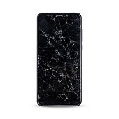 modern touch screen smartphone style black color with broken screen