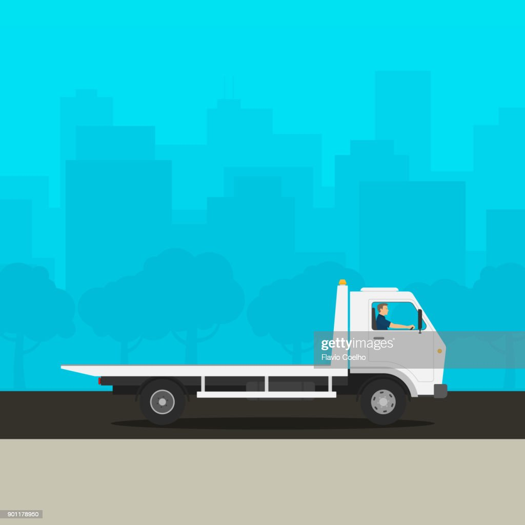 Modern tow truck unloaded illustration : Stock Photo