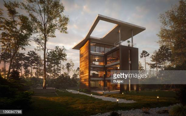 modern tower villa - villa stock pictures, royalty-free photos & images