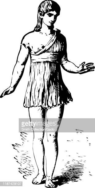 Modern trace of illustration of a female athlete participating in the Heraean Games a version of the Olympic Games in ancient Greece with original...
