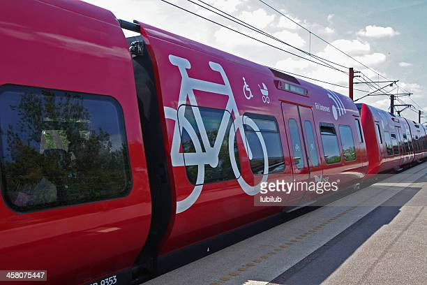 modern train at station in the suburb of copenhagen, denmark. - danish culture stock pictures, royalty-free photos & images