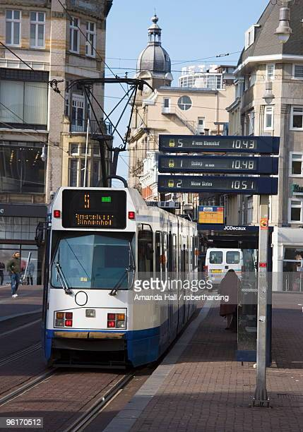 Modern tram on Leidse Straat, Amsterdam, Netherlands, Europe