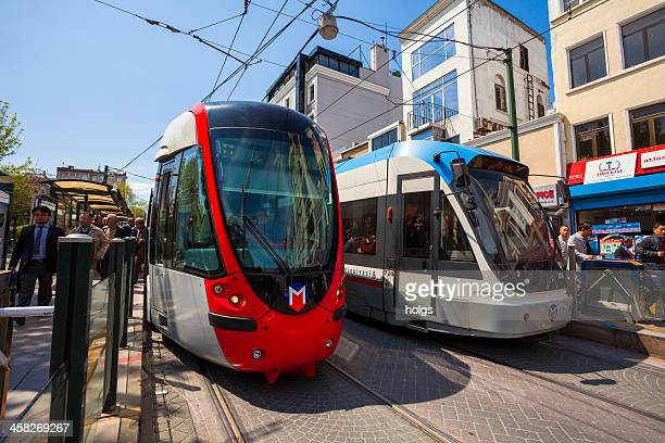 modern trams sultanahmet, istanbul - istanbul province stock photos and pictures