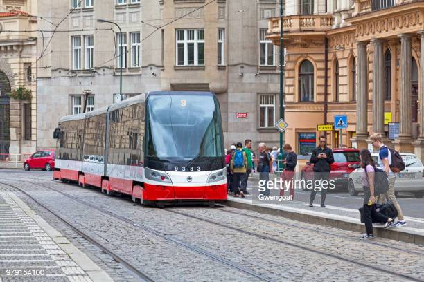 modern tramway in prague - gwengoat stock pictures, royalty-free photos & images