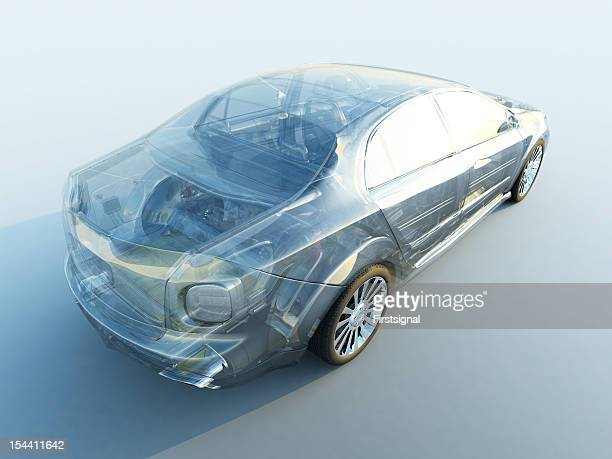 a modern transparent car on white - hybrid vehicle stock pictures, royalty-free photos & images