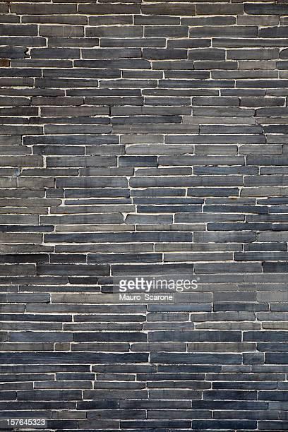 Modern trend,  black flagstone brick wall.