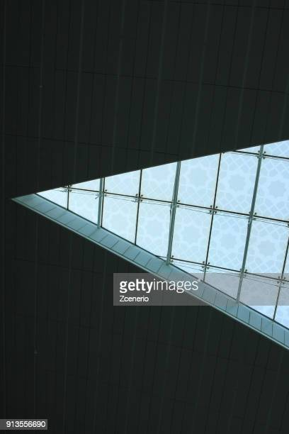Modern triangular roof design at the airport