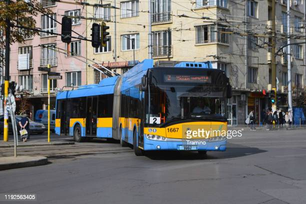 modern trolleybus on a street - sofia stock pictures, royalty-free photos & images